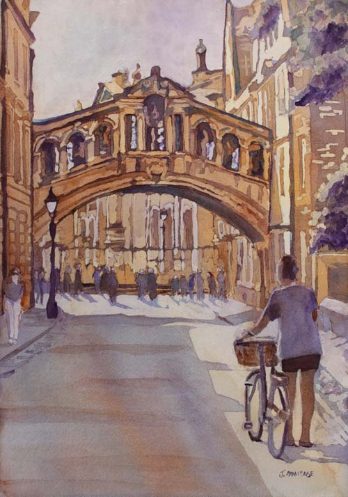Pausing Before the Bridge, Watercolor of the Bridge of Sighs by Jenny Armitage