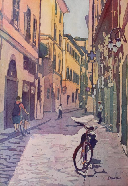 Waiiting Bike, Original Painting of Florence, Italy, by Jenny Armitage