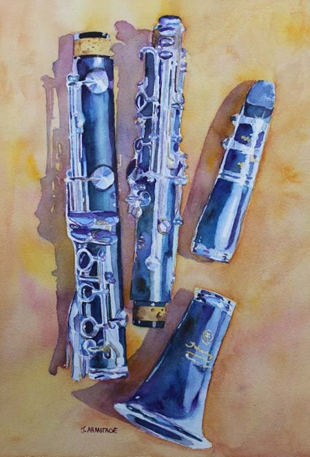 """Licorice Pieces"" Painting of a Clarinet in Watercolor by Jenny Armitage"