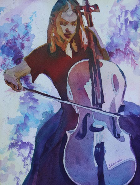 Singing the Cello, a Painting of a Young Woman Playing the Cello by Jenny Armitage