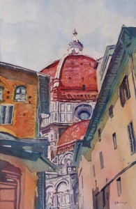 The Ultimate Alley View, Painting of the Duomo, Florence, Italy