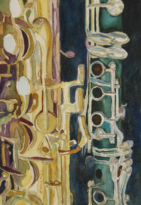 Midnight Duet, watercolor painting of a Sax and Clarinet by Jenny Armitage