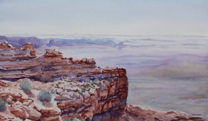 Moki Dugway View of the Valley of the Gods, a Watercolor Painting by Jenny Armitage