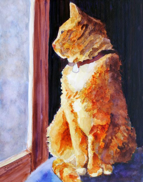 Tabby's Favorite Window, Painting by Jenny Armitage