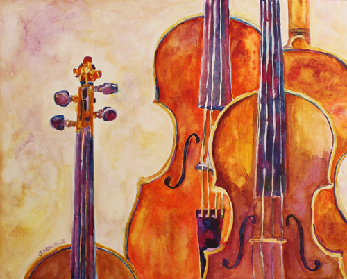 Four Violins, Watercolor by Jenny Armitage