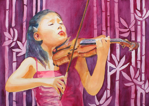 With Feeling, Painting of a Violinist by Jenny Armitage