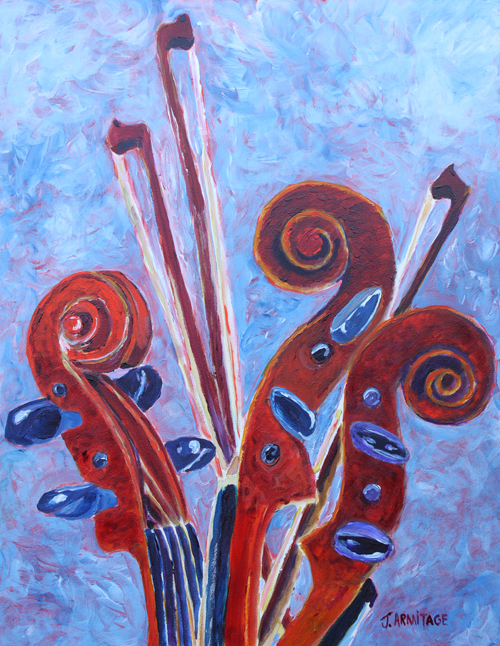 Violins Painting by Jenny Armitage