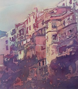 A Slice of Riomaggiore, watercolor by Jenny Armitage