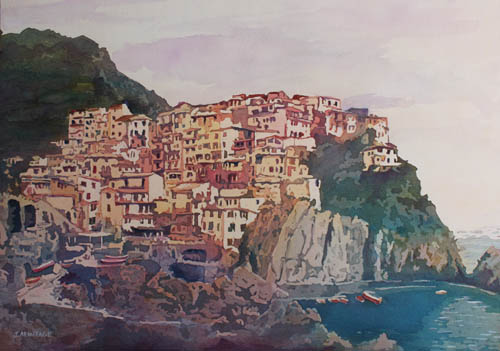 An Italian Jewel, Painting of Cinque Terre by Jenny Armitage