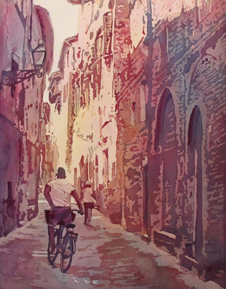 Bike Lucca, a Painting of Italy, by Jenny Armitage