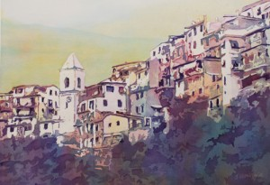 Riomaggiore Hillside, Painting by Jenny Armitage