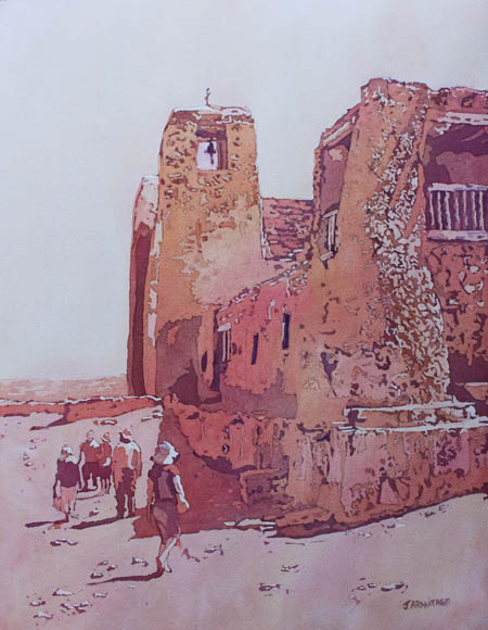 Sky City Mission, Painting of Acoma Pueblo Mission by Jenny Armitage
