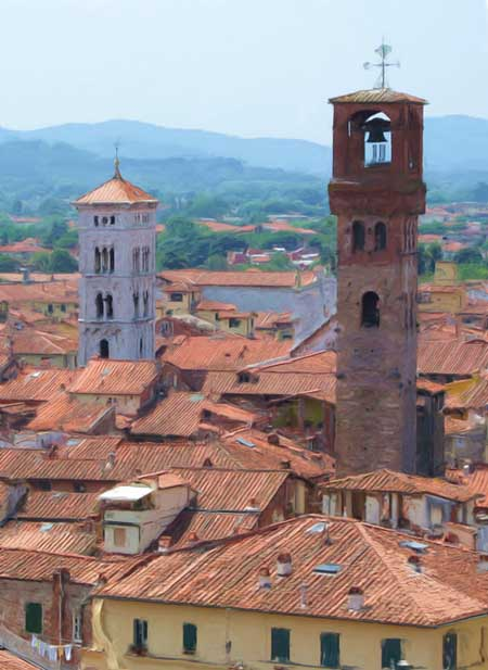 Two Towers, a Digitally Altered Photo of Lucca by Jenny Armitage
