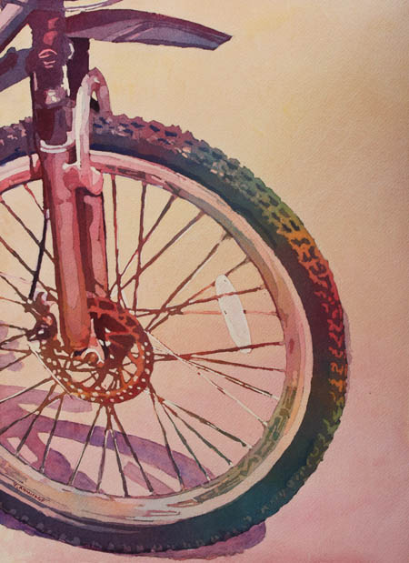 The Wheel in Color, Bicycle Painting by Jenny Armitage
