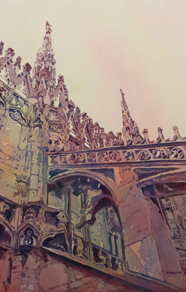 Top of Milan Painting by Jenny Armitage of an Italian Cathedral