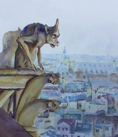 Hunchbacked Gargoyle, Watercolor of Notre Dame by Jenny Armitage