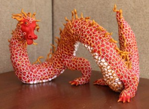 Polymer Clay Red Chinese Dragon by Jenny Armitage
