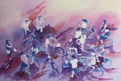 Bike Tour, Original Painting by Jenny Armitage