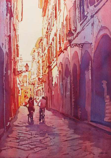 Italian Heat, Original Painting of a Couple Bicycling in Florence by Jenny Armitage
