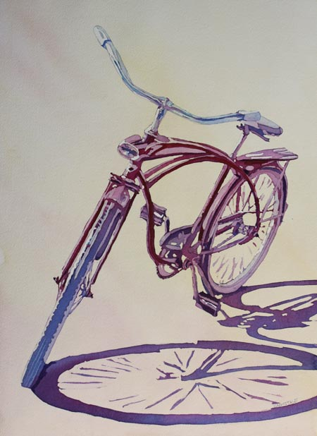 Pure Nostalgia, Original Bicycle Painting by Jenny Armitage