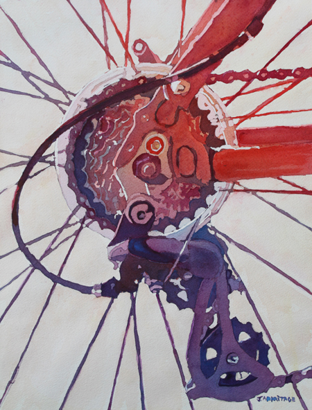 Rear Derailleur, Original Painting by Jenny Armitage