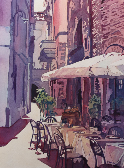 Lucca Cafe, Watercolor by Jenny Armitage