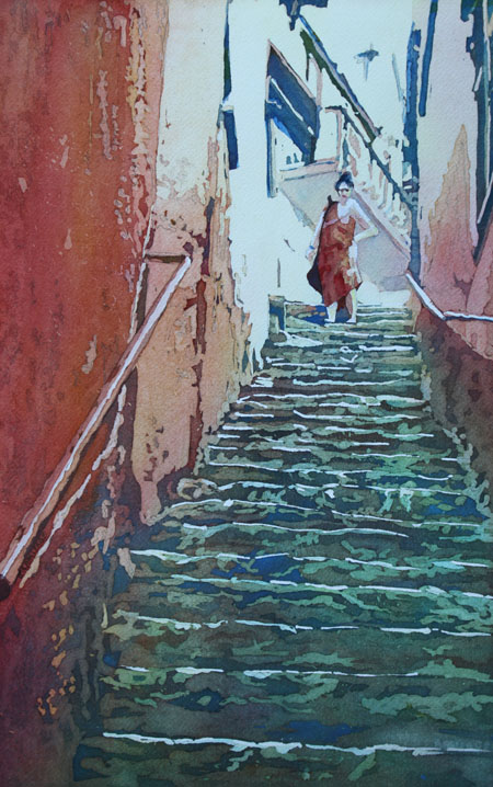 Village Stairs, Painting by Jenny Armitage