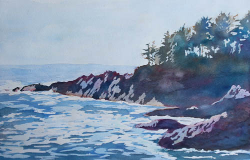 Beachhead, Watercolor Painting of the Oregon Coast by Jenny Armitage