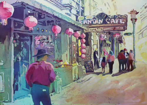Cowboy in Chinatown, Painting of Victoria, B.C., by Jenny Armitage