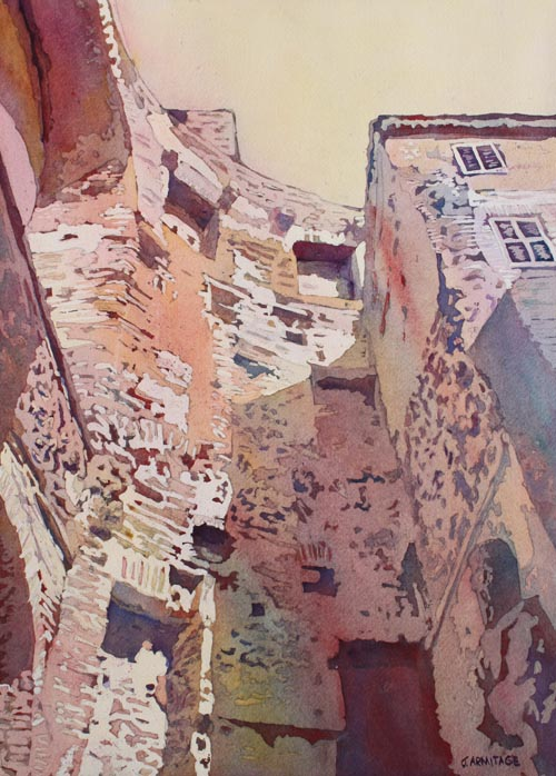 Diocletian Courtyard, Watercolor By Jenny Armitage