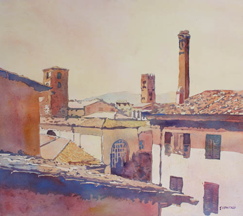 Three Laccan Towers, Watercolor Painting by Jenny Armitage