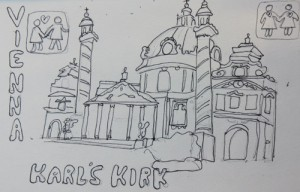 Charles Church, Vienna, Skctch by Jenny Armitage
