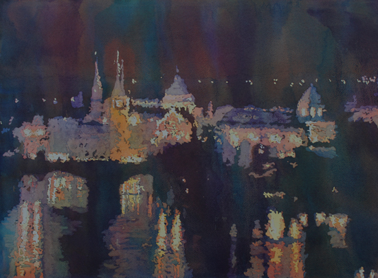 St. Charles Bridge at Night, Watercolor Painting by Jenny Armitage