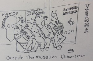 Accordian Players with Horse Heads in Vienna, a Sketch by Jenny Armitage