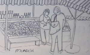 Viktualienmarkt, Munich, Germany, Sketch by Jenny Armitage