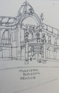 Art Nouveau Municipal Building, Prague, Sketch by Jenny Armitage
