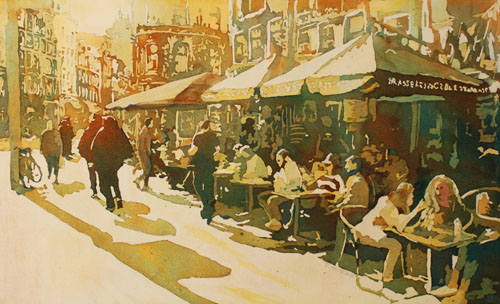 European Cafe, Watercolor Painting by Jenny Armitage