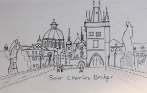 The Saint Charles Bridge, Prage, Sketch by Jenny Armitage