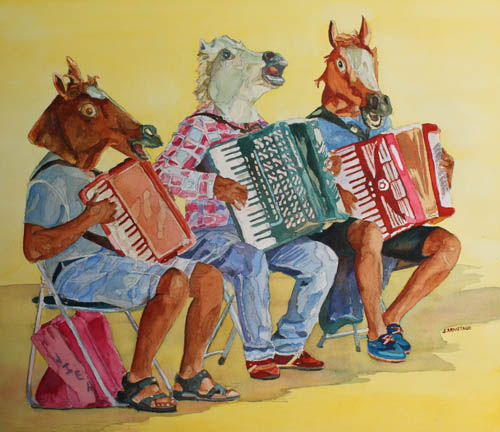 Horsing Around With Accordian, Original Painting by Jenny Armitage