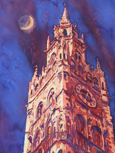 After Midnight, Watercolor of Munich Townhall by Jenny Armitage