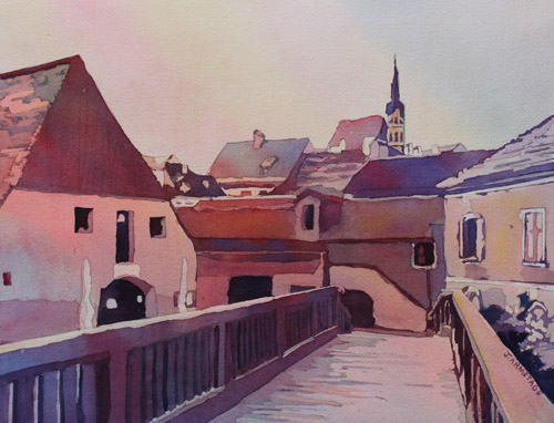 Bridge to Cesky Krumlov, Watercolor by Jenny Armitage