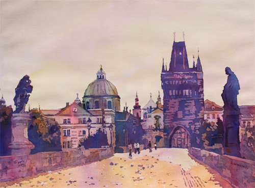 Morning on the Saint Charles Bridge, Watercolor Painting by Jenny Armitage