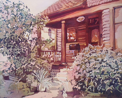 Oregon City Porch, Original Painting by Jenny Armitage