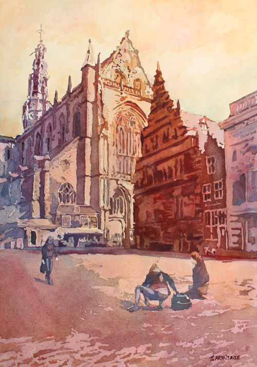 Haarlem Kirk, original painting of The Netherlands by Jenny Armitage
