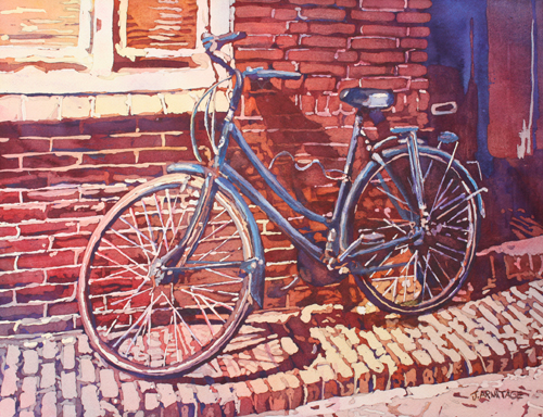 A Girls Best Friend, Bicycle Painting by Jenny Armitage