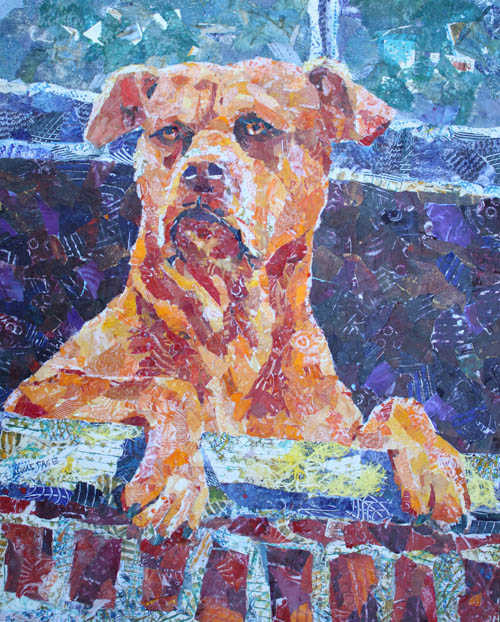 Dutch, Collage Painting of a Dog, by Jenny Armitage