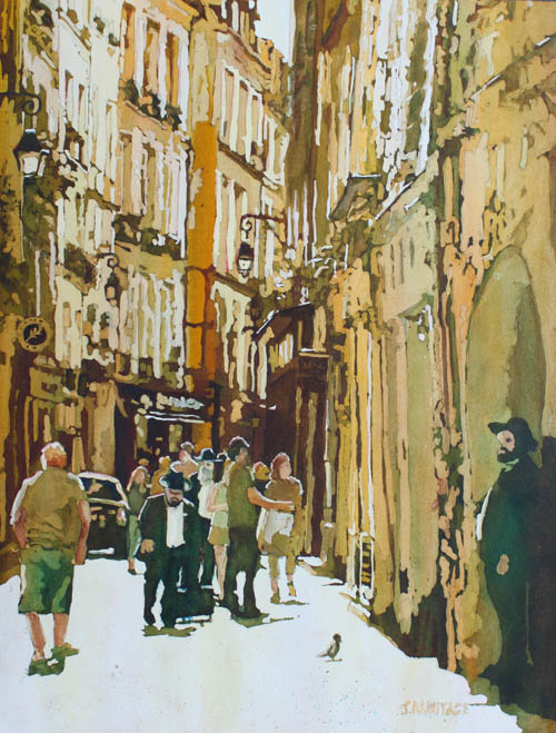 Morning in Le Marais, Original Paining of Paris by Jenny Armitage