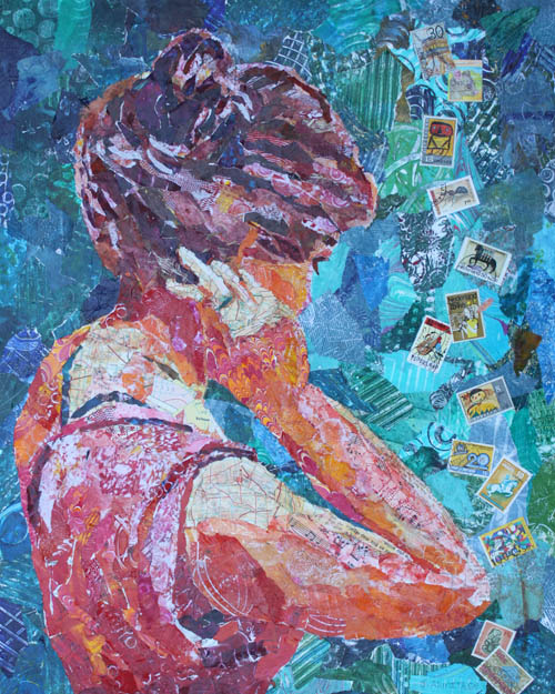 Putting Her Hair Up, Collage Painting, by Jenny Armitage