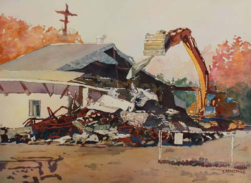 Bringing Down the House, Original Painting of House Demolition by Jenny Armitage