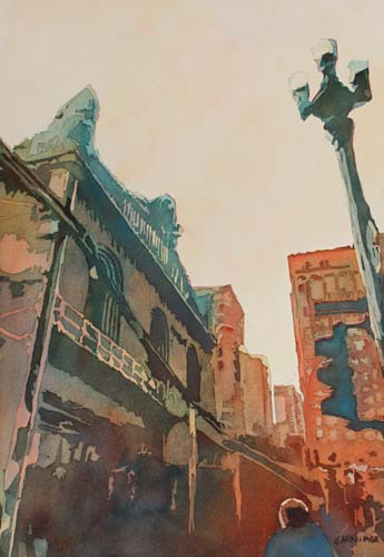 On the Loop, Watercolor Painting of Chicago by Oregon Artist, Jenny Armitage